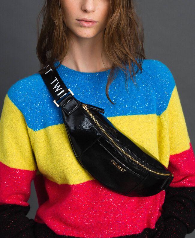 Sac banane effet verni avec logo Noir Femme 192TO8153-0S