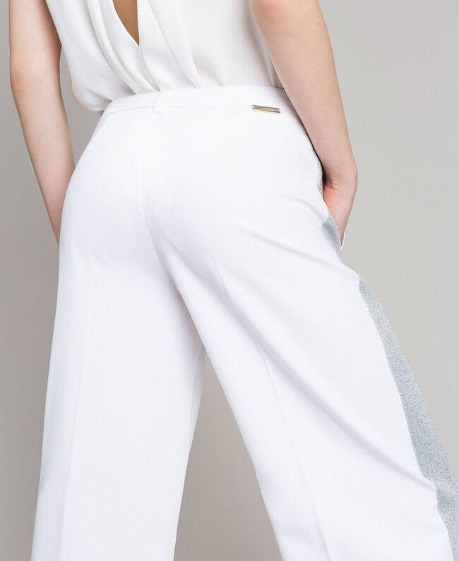 Pantaloni palazzo con bande lurex Bianco Donna 191LL25BB-04