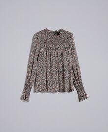 Floral print georgette blouse Multicolour Micro Flower Print Woman PA82MB-0S