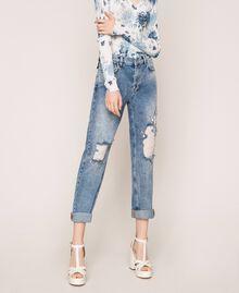 Jeans con rotture e ricami Denim Blue Donna 201MT2266-02