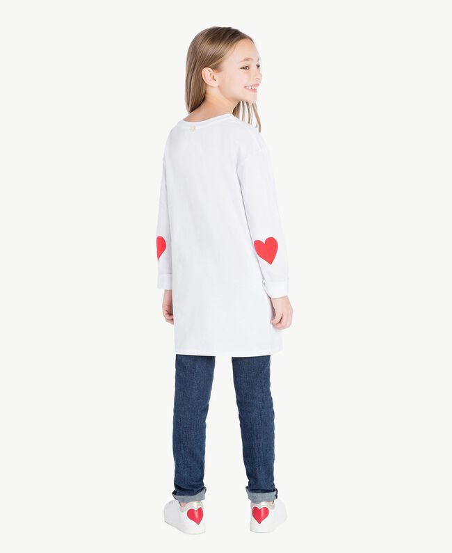 """Maxi T-shirt with pocket Two-tone """"Papyrus"""" White / Pomegranate Red Child GS82KB-04"""