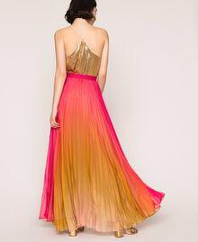 "Pleated chiffon long skirt ""Sugar Coral"" Red / Golden Yellow Fadeout Print Woman 201TT2520-04"