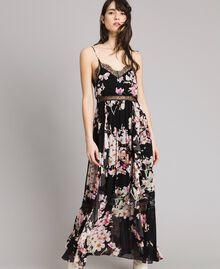 """Robe longue en georgette à imprimé floral Imprimé Noir Rose """"Fleur De Pêcher"""" Femme 191TP2717-02"""