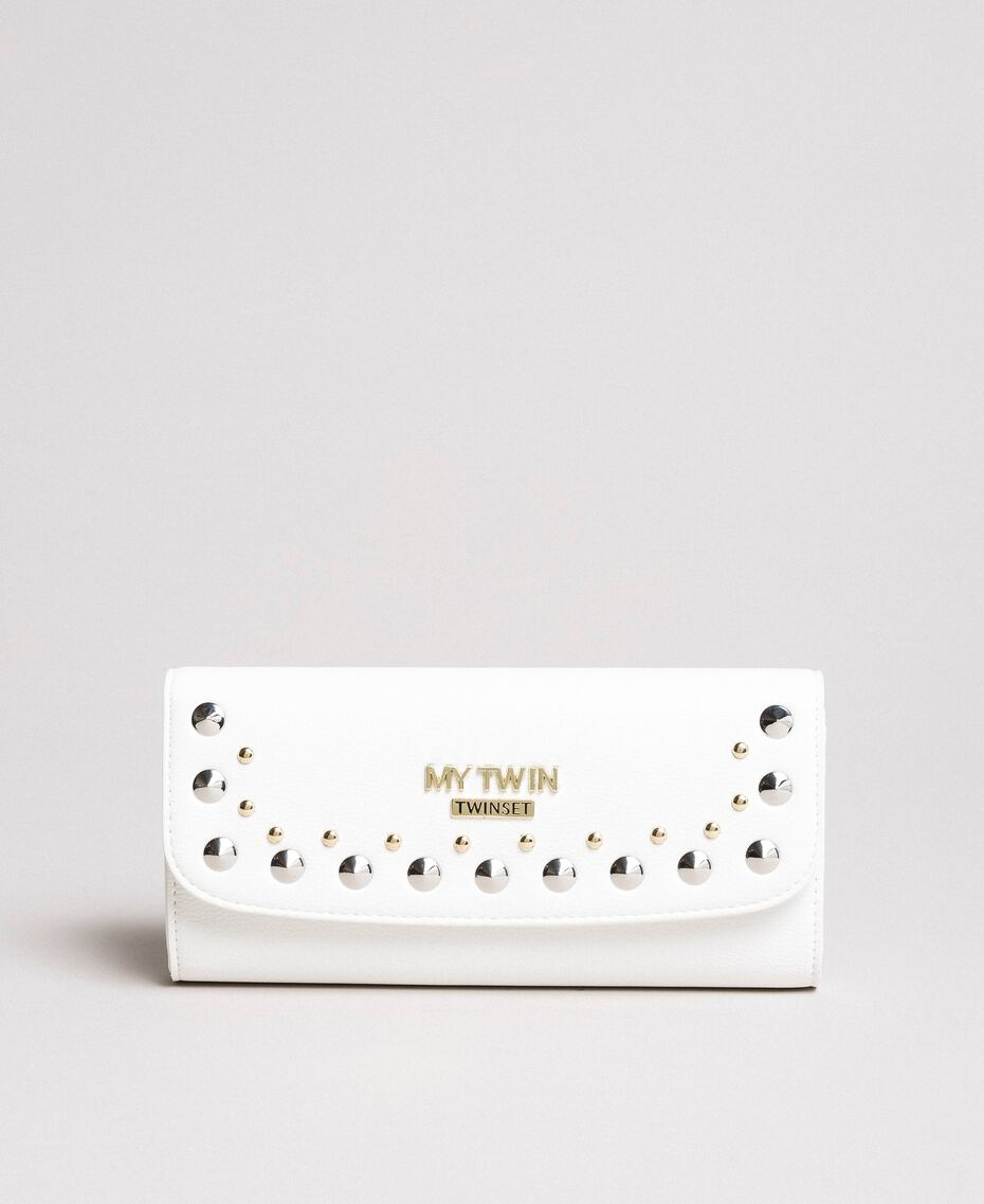 Portefeuille en similicuir avec clous Crème White Femme 191MA7144-02