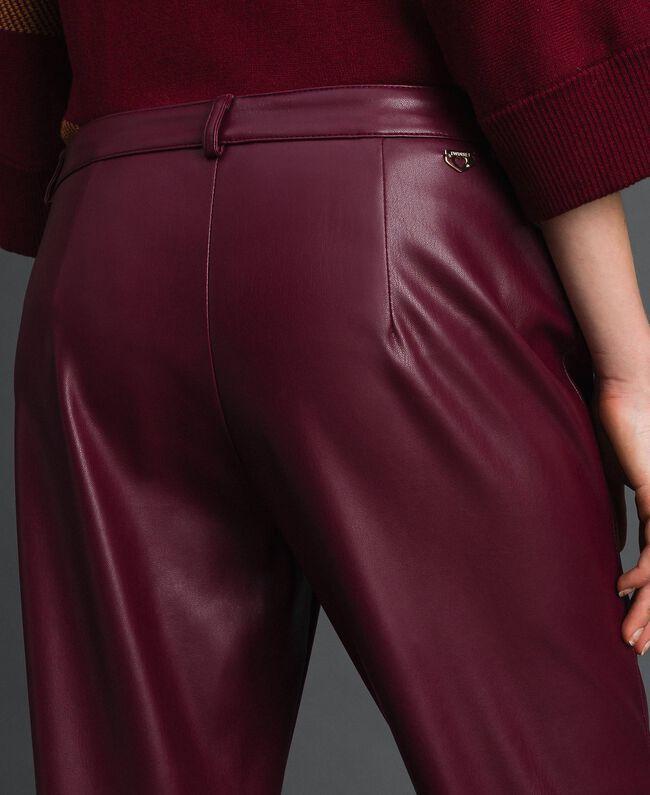 Pantalon cigarette en similicuir Rouge Violet Femme 192LI2EBB-05