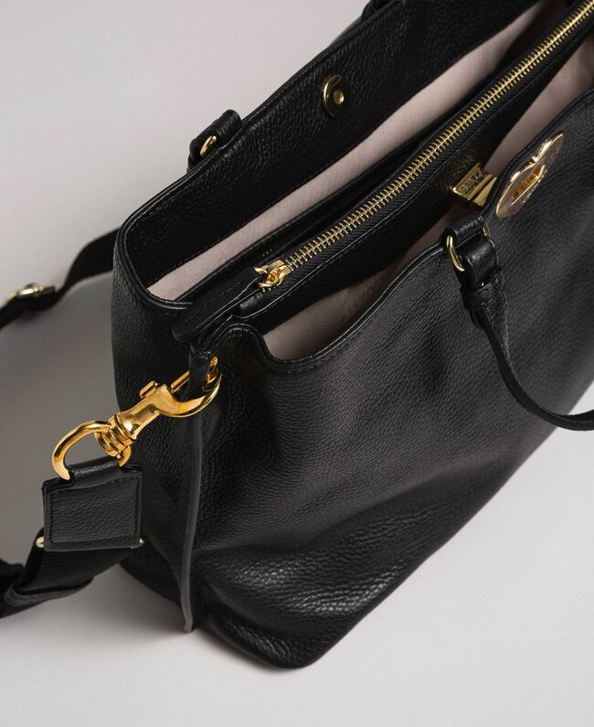 Petit cabas en cuir à bandoulière Noir Femme 192TO8091-04