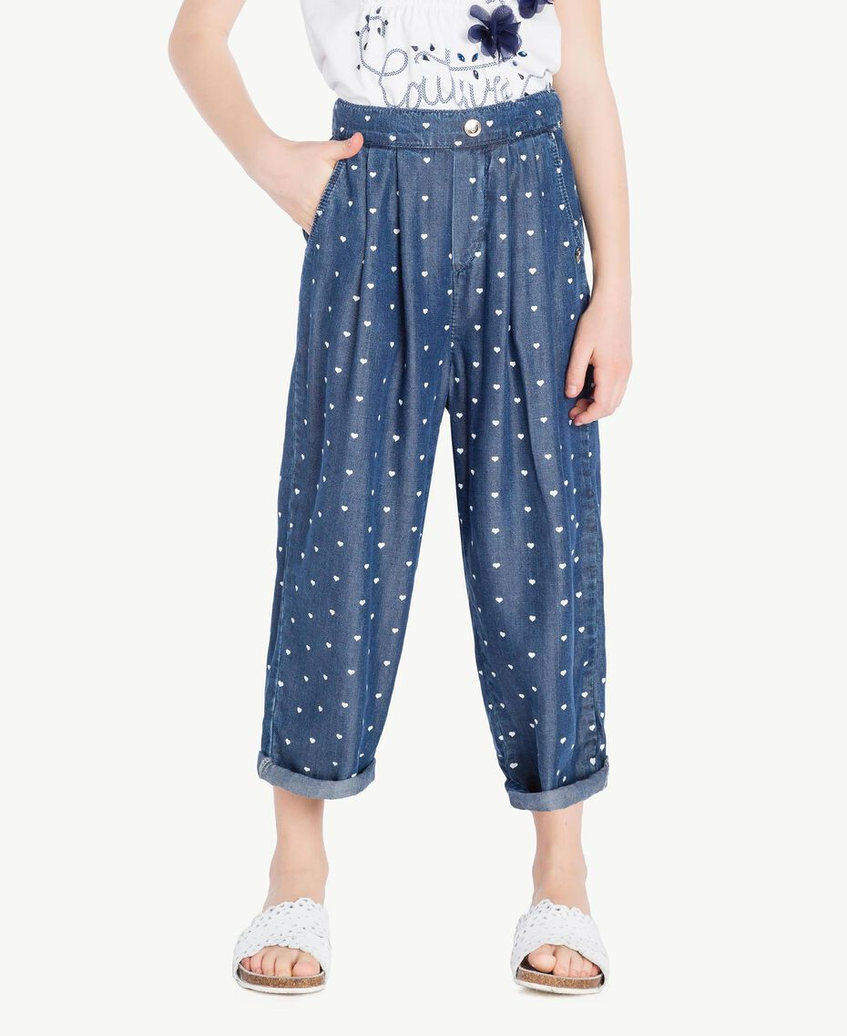 Heart trousers Denim Logo Print Child GS82MB-02