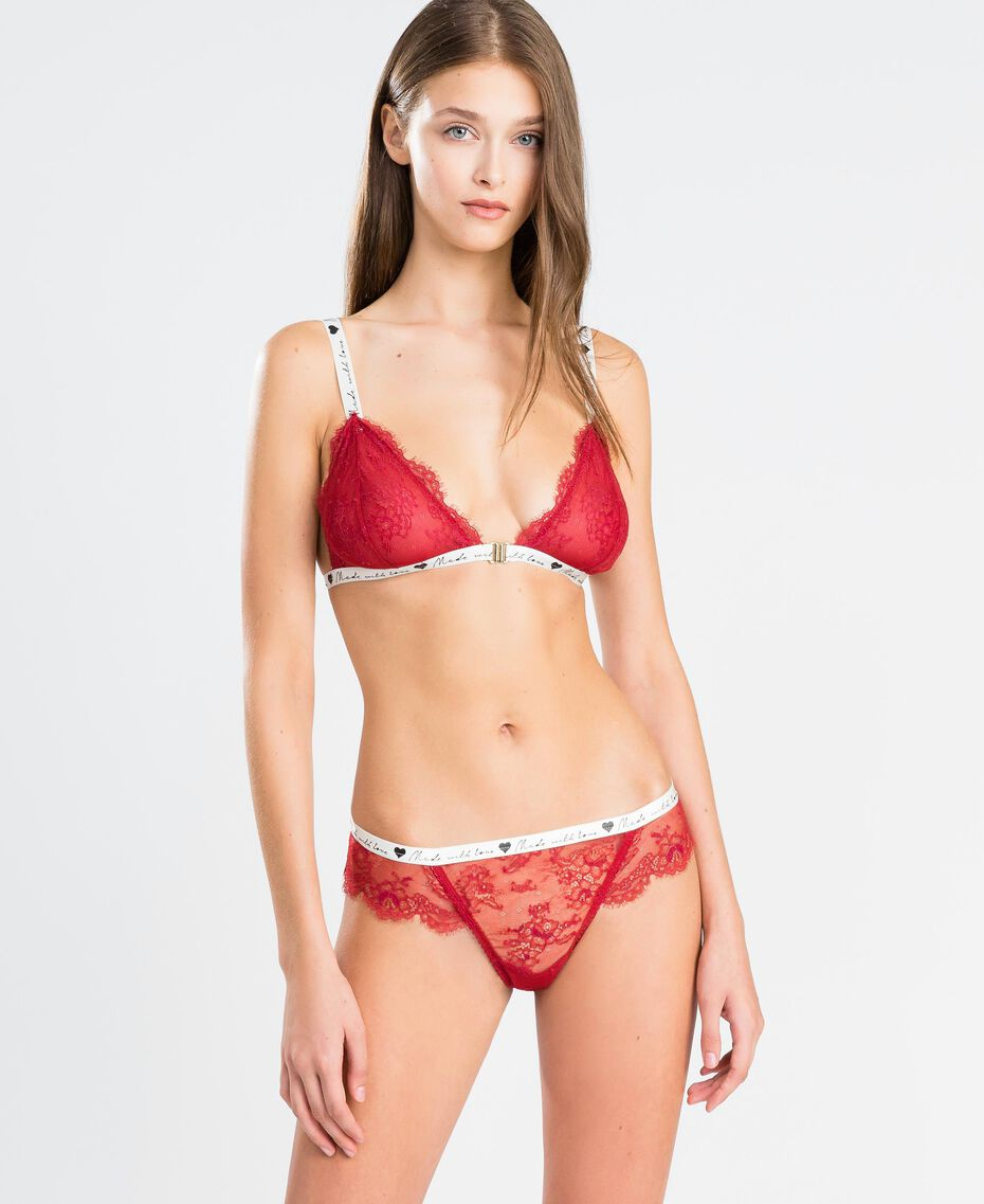 """Lace triangle bra with contrast elastic band """"Reddish"""" Red Woman LA8F22-02"""