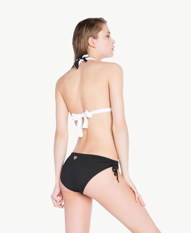 Bikinihose mit Tunnelzug Zweifarbig Schwarz / Optisches Weiß Frau BS8199-04