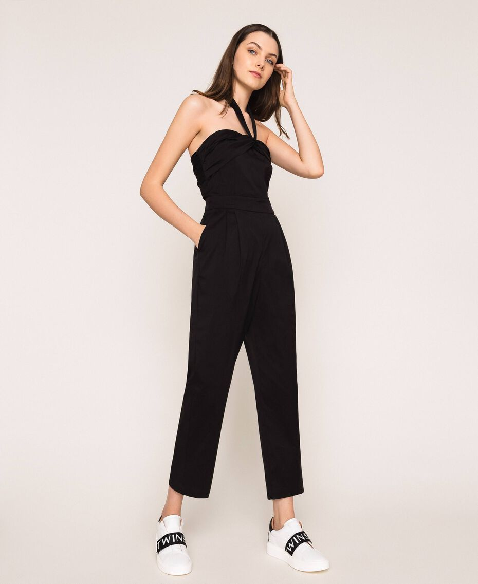 Poplin jumpsuit Black Woman 201MT2106-01
