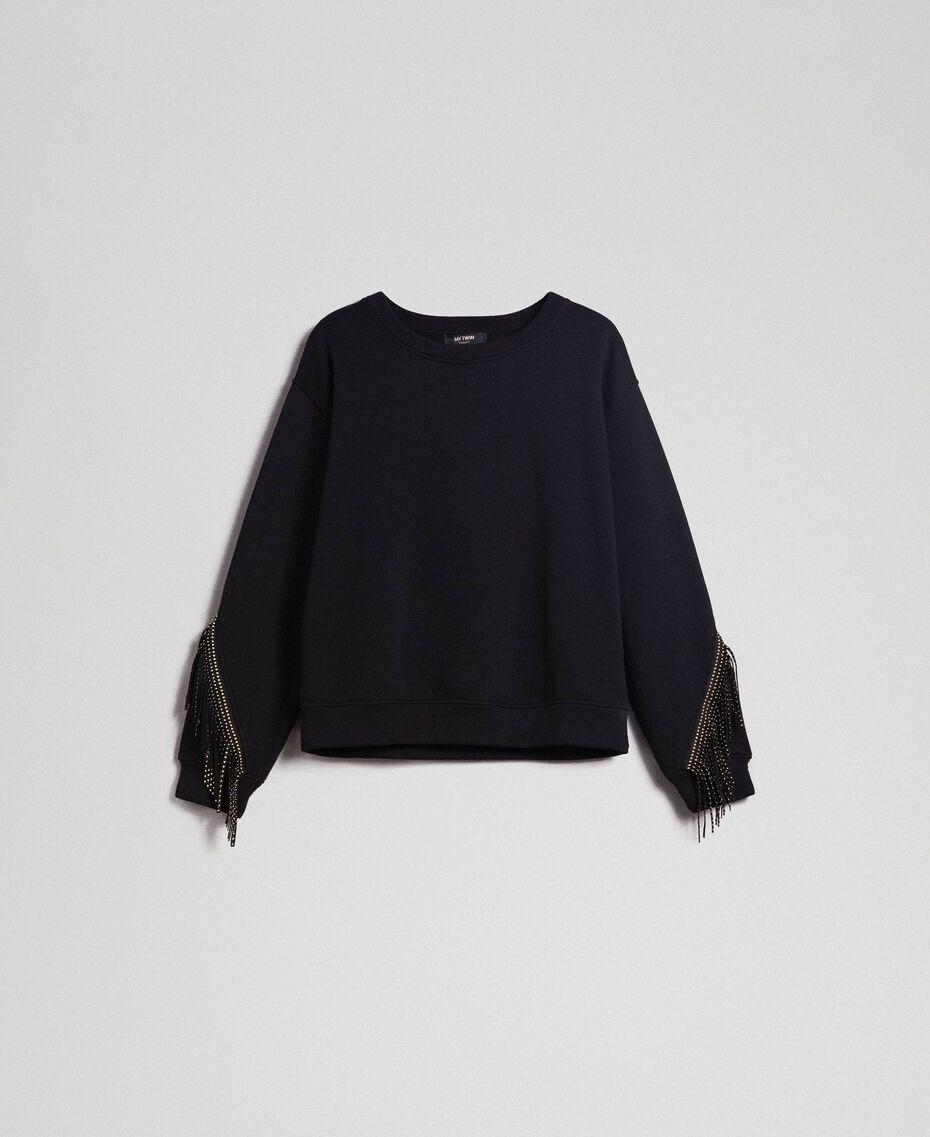 Boxy sweatshirt with fringes Black Woman 192MP2230-0S
