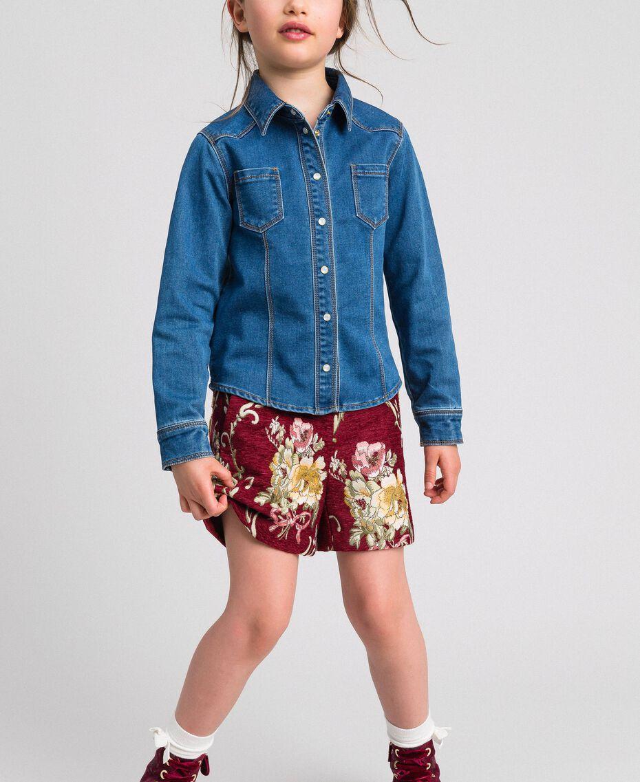 Рубашка с эффектом джинсовой ткани с карманами Средний Деним Pебенок 192GJ2511-02