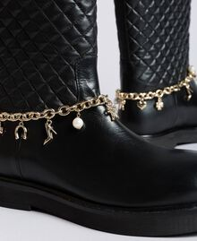 Leather boots with charm chain Black Woman CA8PLW-04