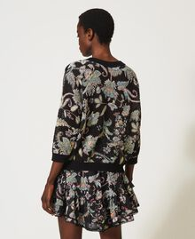 Floral print cardigan-jumper Black Indian Flower Print Woman 211TT3141-06