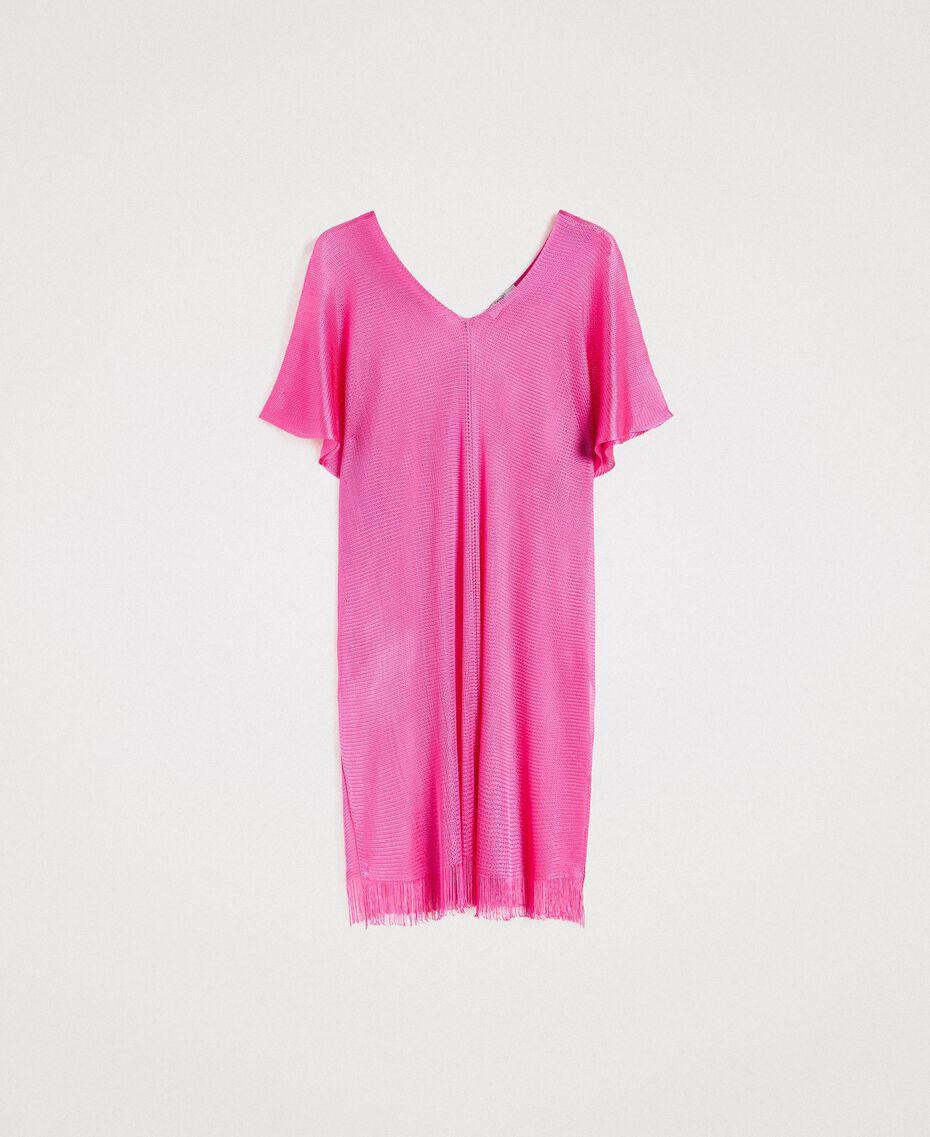 """Poncho à franges en laine brillante Fuschia """"Rose Psychédélique"""" Femme 191LB44CC-0S"""