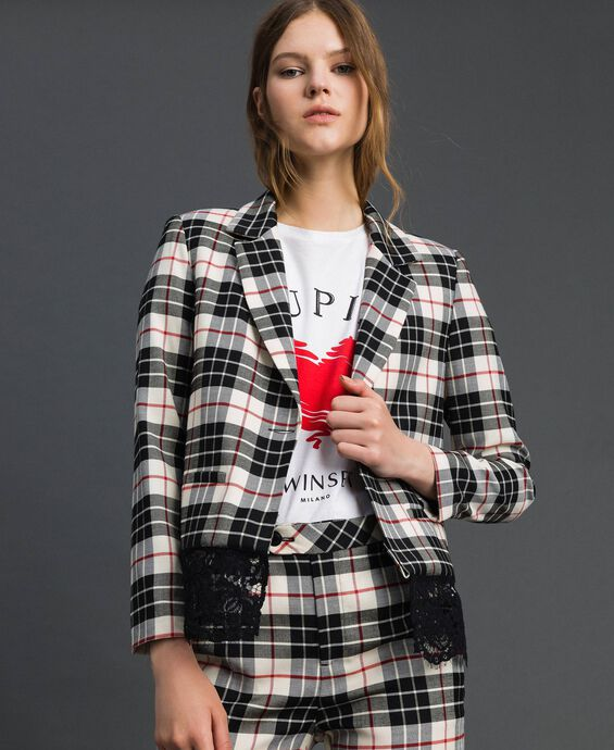 Chequered blazer with lace
