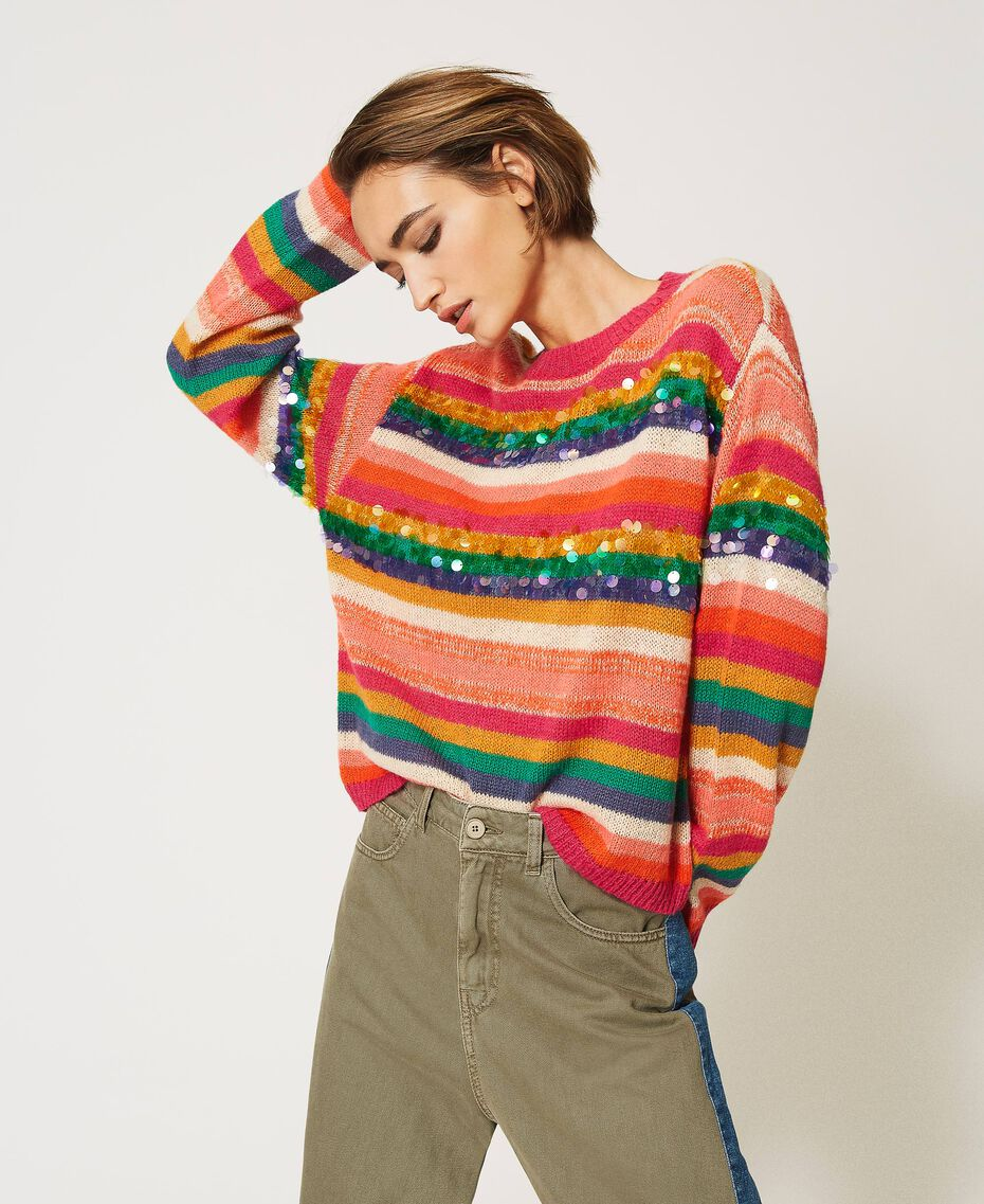 "Wool blend jumper with sequins Multistripe / ""Colour Sequins"" Woman 202MP3190-01"