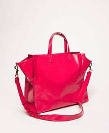"""Large leather shopper with logo """"Jazz"""" Pink Woman 201TO8090-03"""