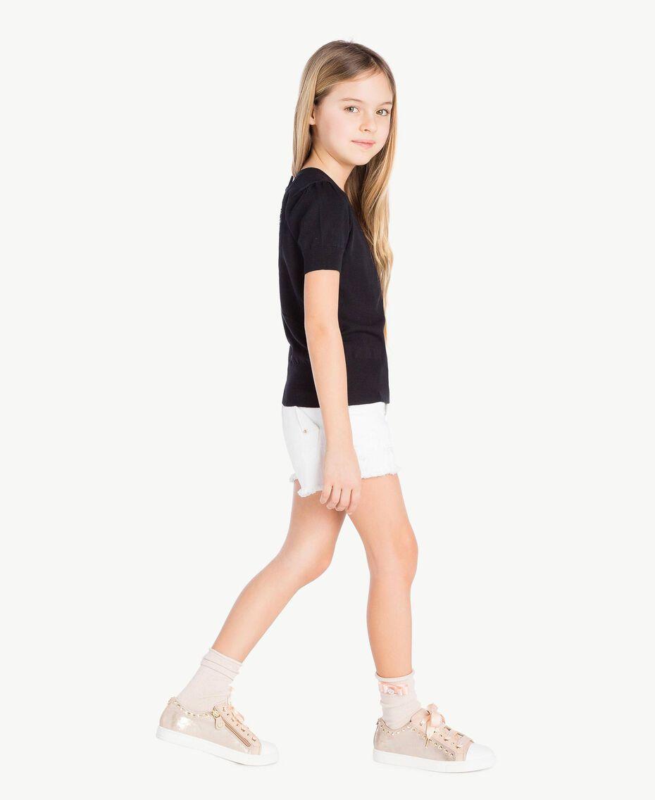 Chaussettes lurex Jacquard Lurex Rose Bouton Enfant GS8ACG-02
