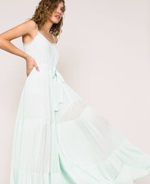Pleated georgette jumpsuit with embroidery Antique White Woman 201TT2091-04