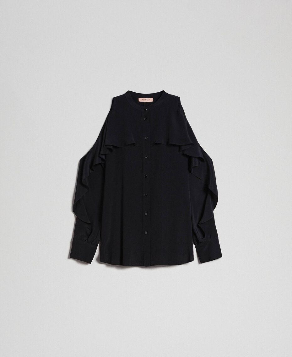 Chemise en crêpe de Chine avec volant Noir Femme 192TT2432-0S