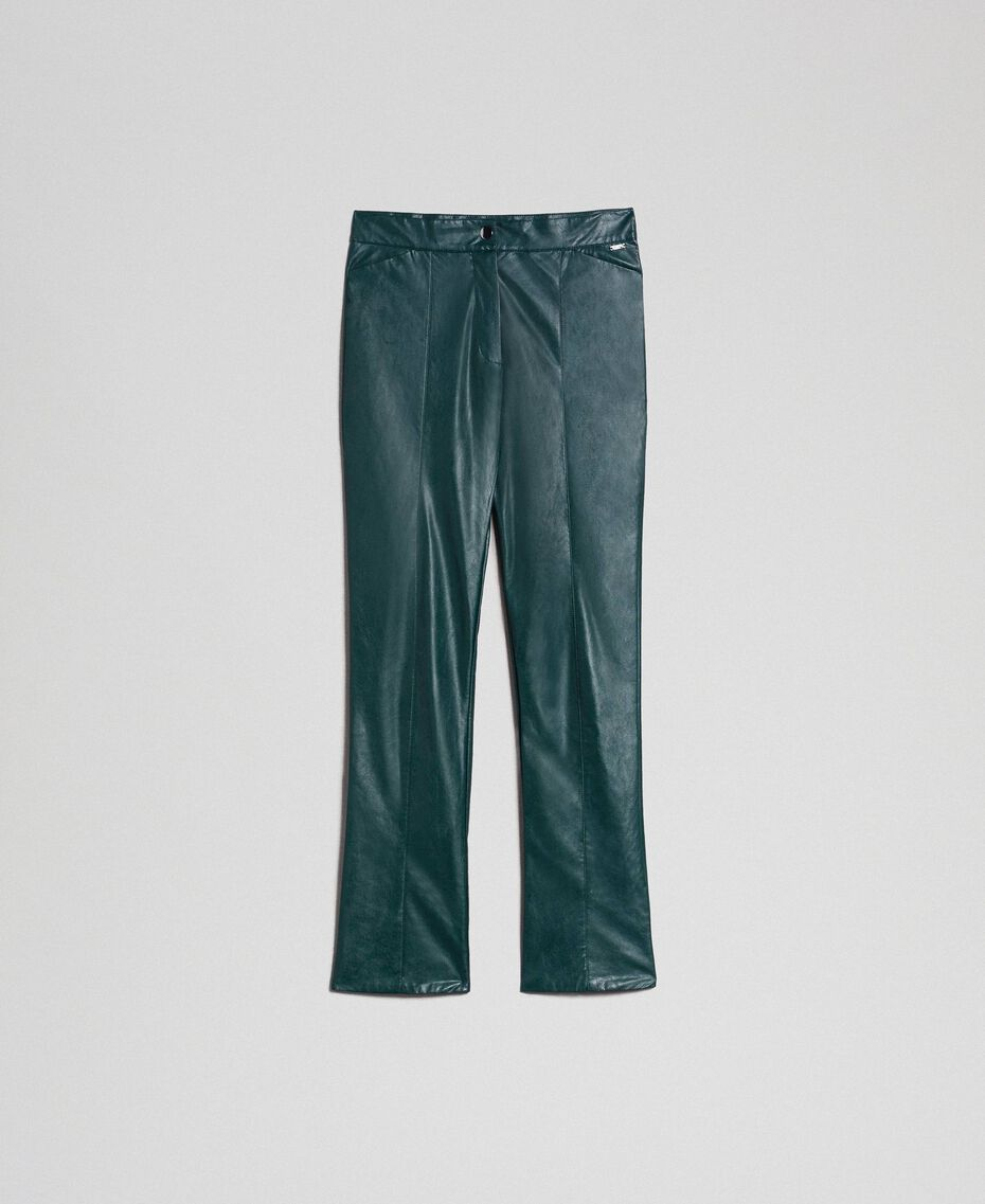 "Pantaloni a sigaretta in similpelle Verde ""Forest"" Donna 192ST2017-0S"