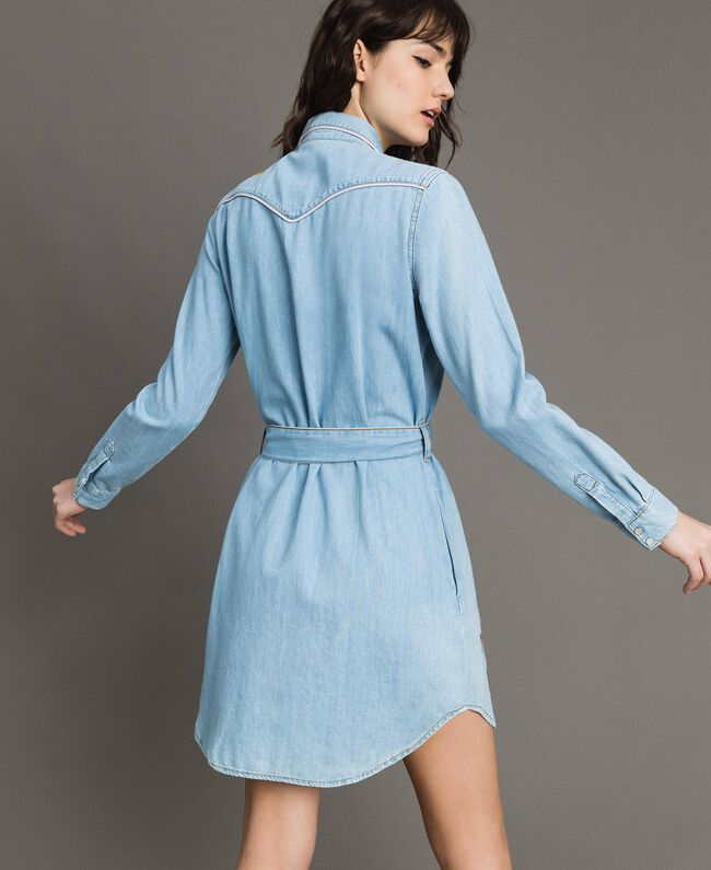 Denim shirt dress Light Denim Woman 191TP2534-04