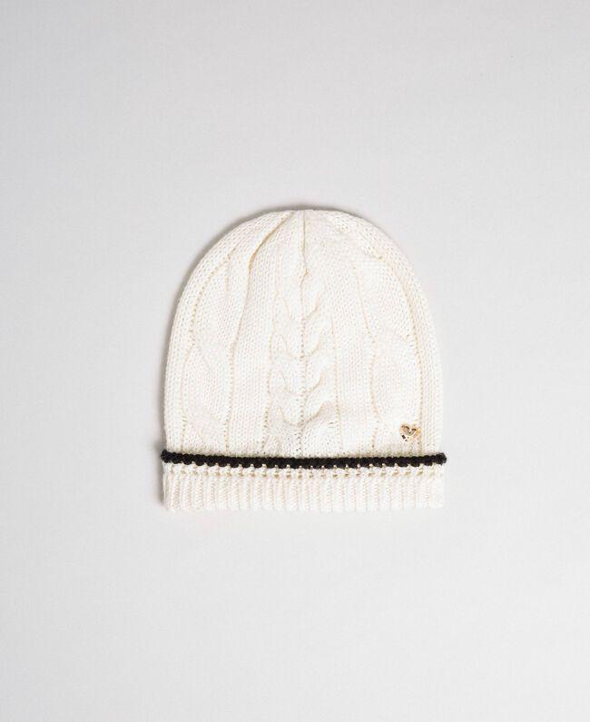 Bonnet en maille torsadée avec logo Vanille / Noir Femme 192MA4321-01