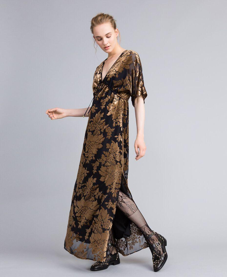 Robe longue en velours dévoré Camel Dévoré Femme PA82M4-01