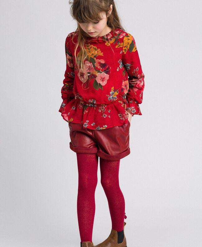 Blouse en crêpe georgette avec imprimé floral Imprimé Fleurs des Champs Grenadier Enfant 192GJ2591-01