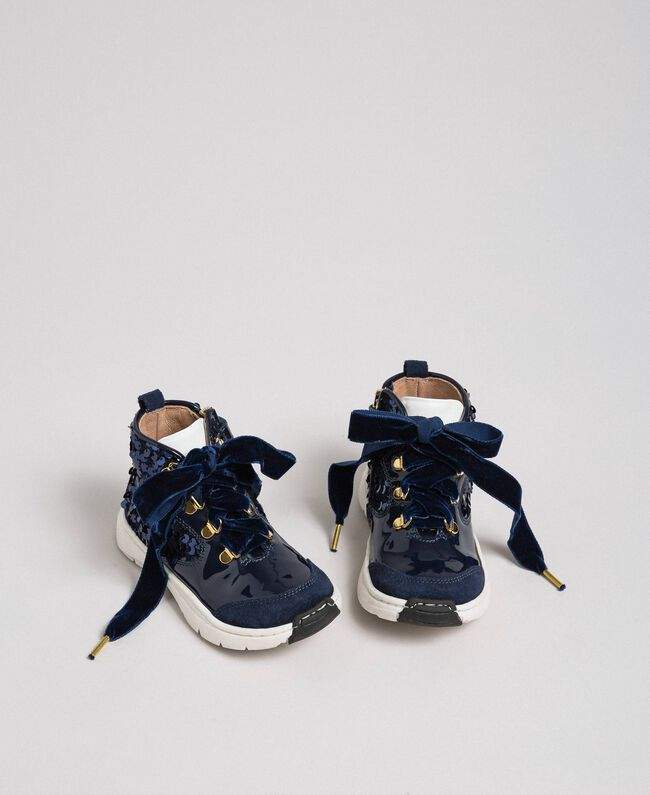 Baskets en cuir avec sequins Blue Night Enfant 192GCB054-04