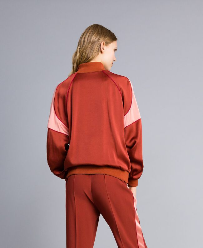 Sweat bicolore en envers satin Bicolore Orange Brûlée / Rose «Sable Rose» Femme TA824U-03