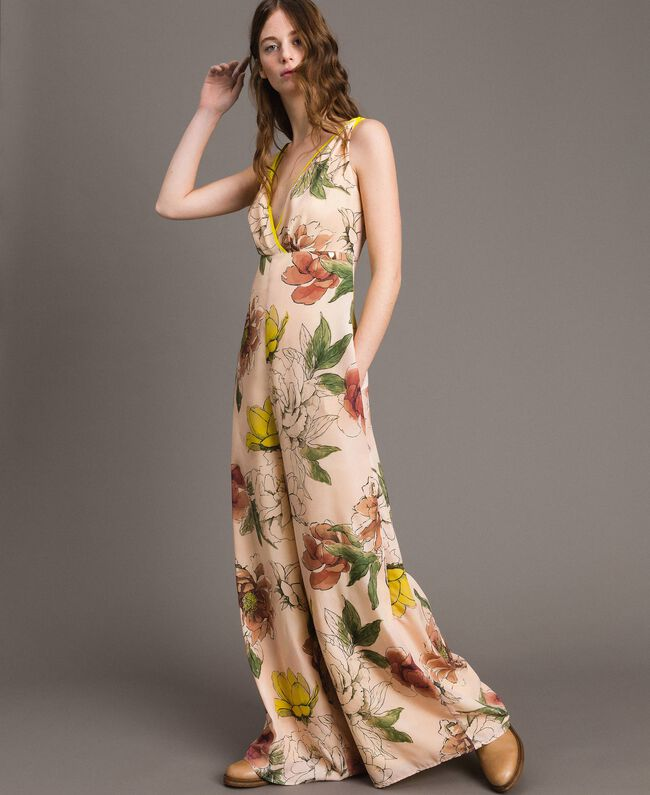 "Printed crêpe de Chine jumpsuit All Over ""Shell"" Beige Flower Print Woman 191MT2214-04"