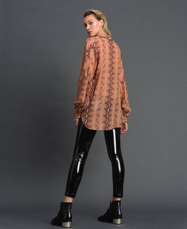 Animal print georgette blouse Canyon Pink Python Print Woman 192TT2272-03