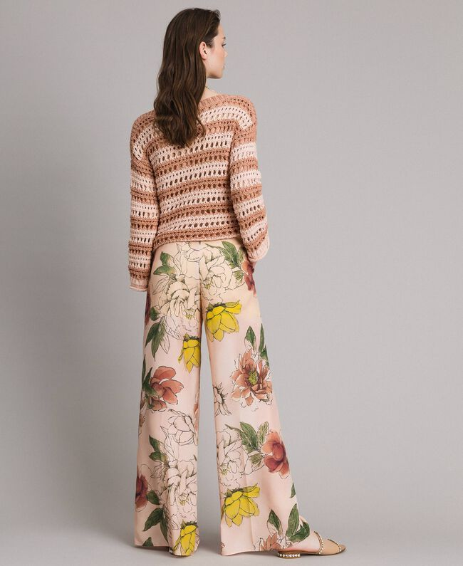 "Floral print crêpe de Chine trousers All Over ""Shell"" Beige Flower Print Woman 191MT2212-03"