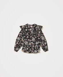 Blouse en mousseline avec imprimé floral Imprimé Fleur Indienne Noir Femme 211TT2563-0S