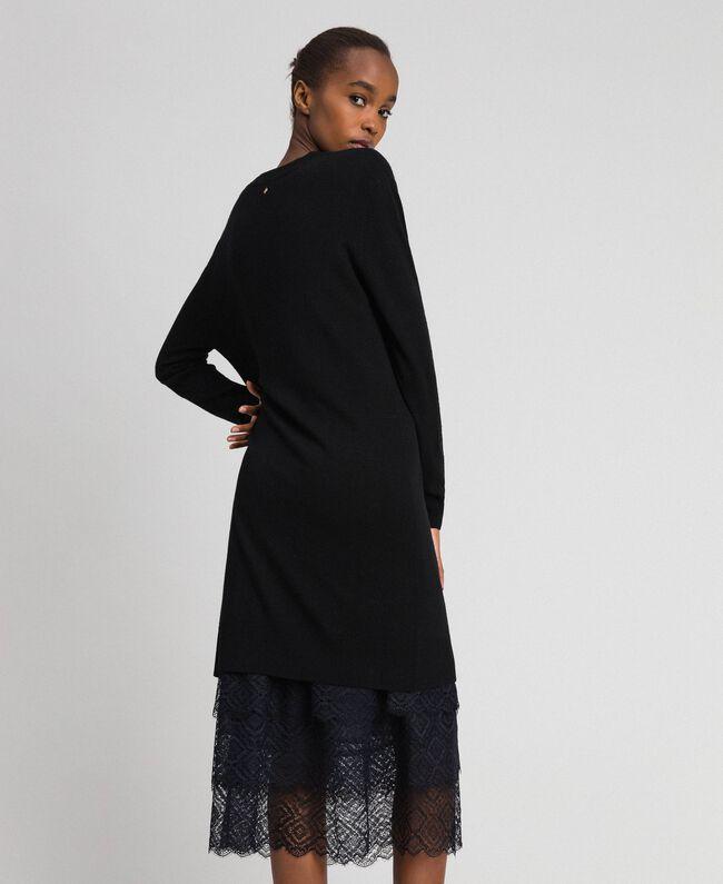 Robe en maille avec fond de robe en crêpe et dentelle Noir Femme 192TT3084-03