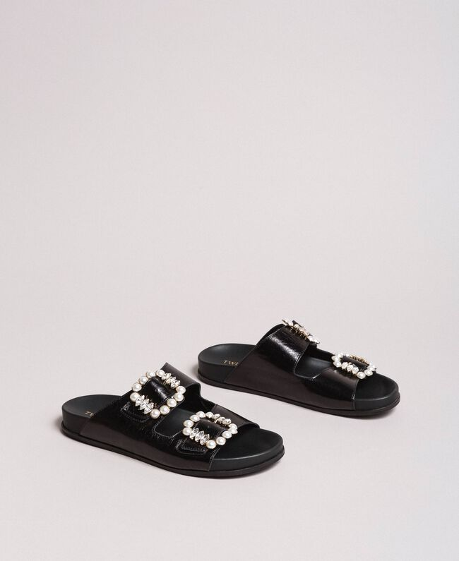 eb833f754104 Leather sandals with buckles and pearls Black Woman 191TCT09A-01