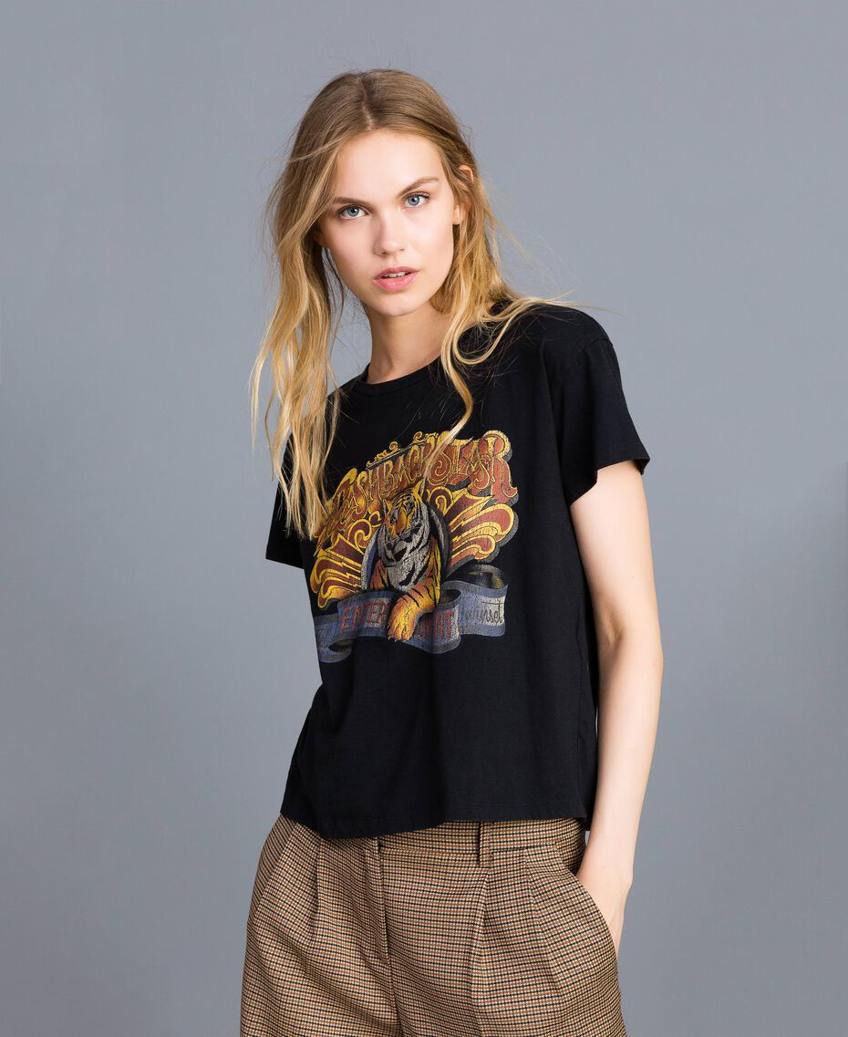 T-shirt en coton avec imprimé Noir Femme TA82ZP-01