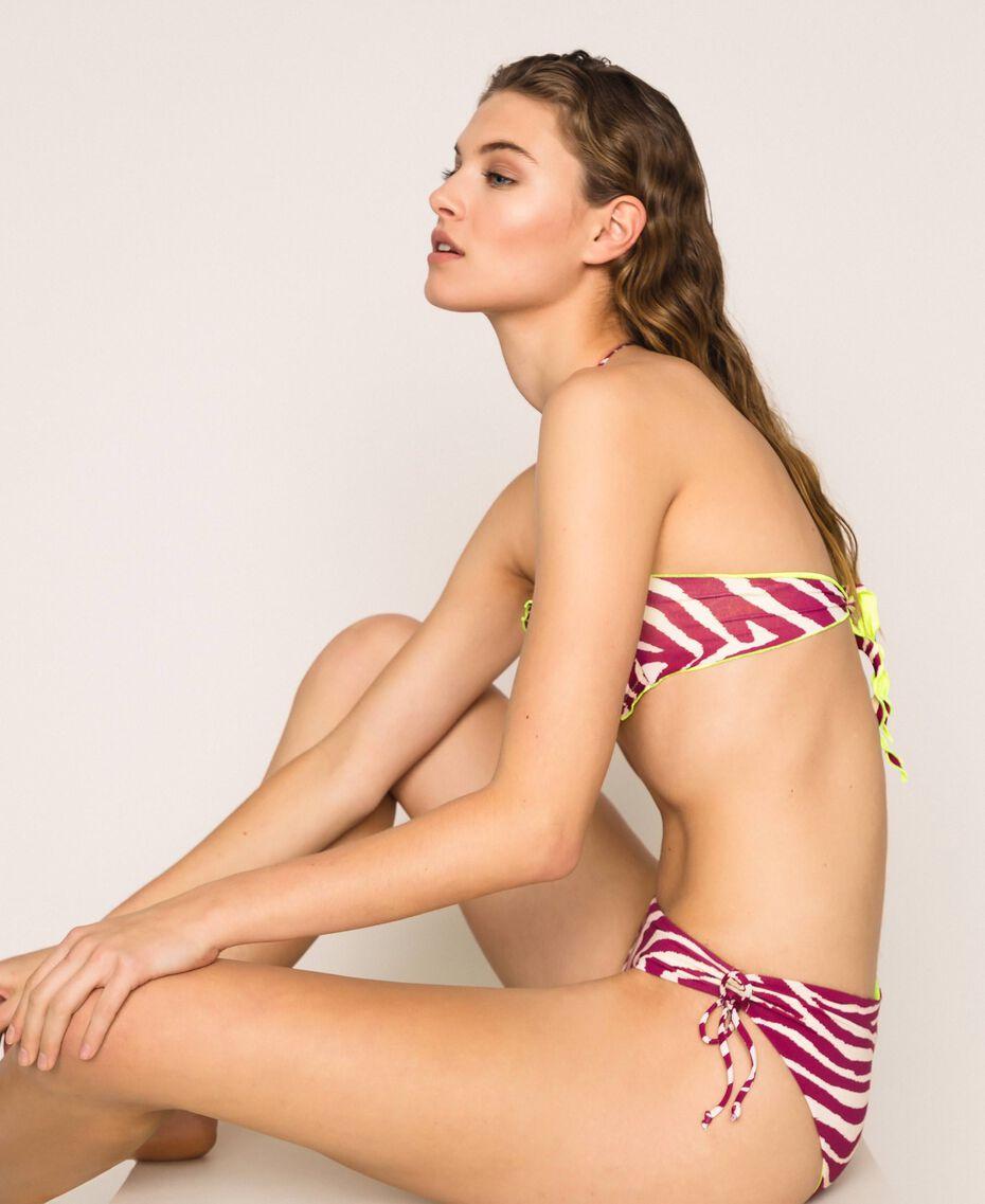 Printed bandeau bikini top Flirty Rose Zebra Print Woman 201LBMG11-02