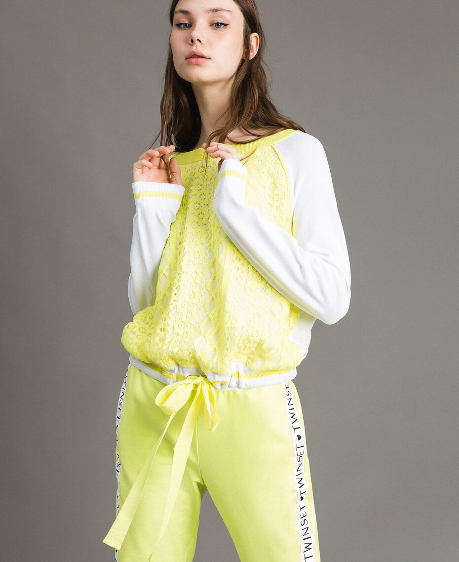 "Jumper with lace-effect print Two-tone Optical White / ""Lemon Juice"" Yellow Woman 191LL36BB-05"