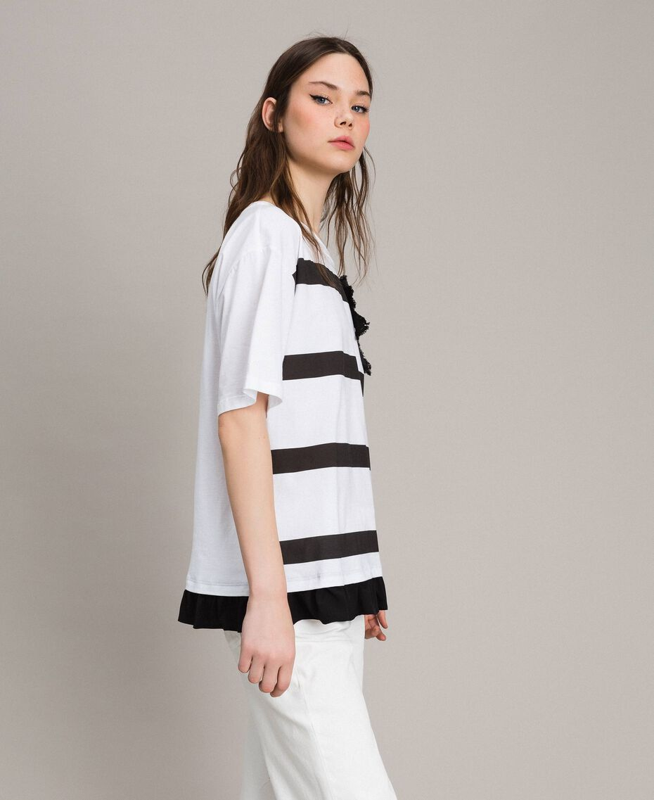 Maxi striped T-shirt with bow White Cream Woman 191MP206C-02