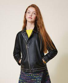 Куртка из искусственной кожи со звездочками Черный Pебенок 202GJ2830-01
