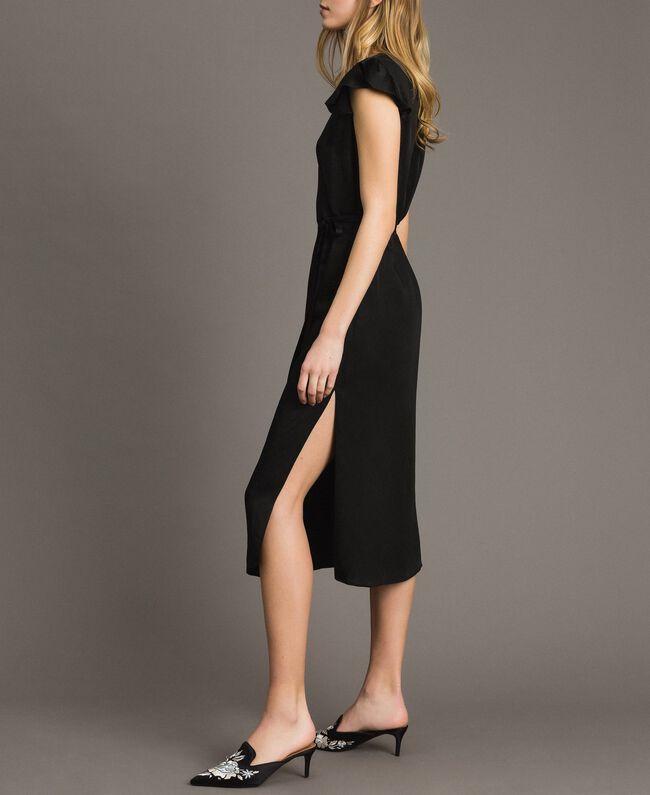 Envers satin linen long dress Black Woman 191TT2303-04