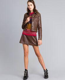Veste en similicuir avec clous Bordeaux Acajou Femme YA82BC-0T