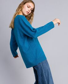 Wool blend maxi jumper with heart Octane Blue Needle Punch Embroidery Woman TA83JF-02