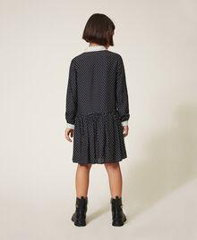 Hemdblusenkleid mit Sternchen Zweifarbiger Sternprint Schwarz / Schneeweiß Kind 202GJ2630-03