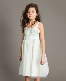 """Tulle dress with flower-shaped brooch Blue Clear """"Water"""" Child 191GJ2QM0-02"""