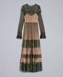 Tulle plumetis and lace long dress Forest Green Woman TA82XA-0S