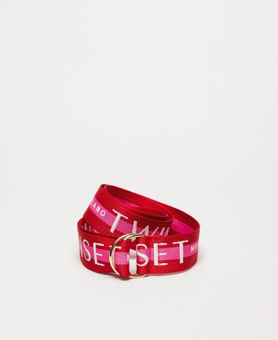 """Пояс из репсовой ленты с логотипом Двухцветный Красный """"Герань"""" / Розовый """"Джаз"""" женщина 201TO534B-02"""